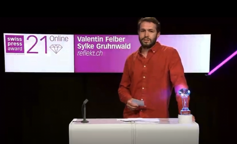 Valentin Felber bei seiner Dankesrede an den Swiss Press Awards